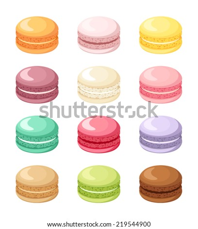 Set of colorful French macaroon cookies isolated on white. Vector illustration. - stock vector