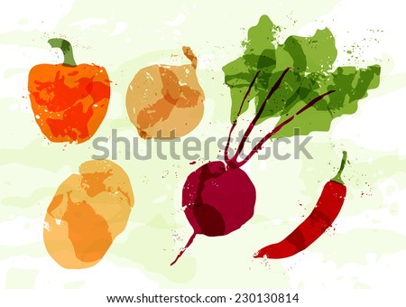 Set of colorful fresh vegetables stains - stock vector