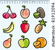 set of colorful fruits on paper page - stock vector