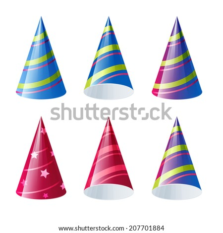 Set of colorful funny caps. Vector illustration - stock vector