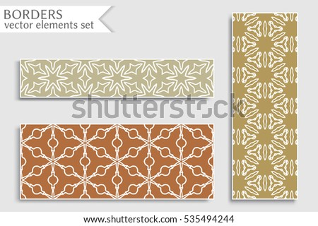 Set of colorful geometric line borders patterns. Tribal ethnic arabic, indian, turkish decorative ornament, fashion collection. Isolated design elements for headline, banner, flyer, business card