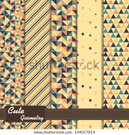 set of colorful geometric patterns - stock vector