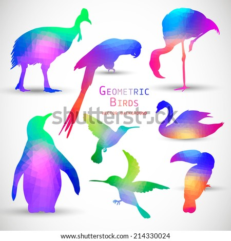 Set of Colorful Geometric Silhouettes of Birds, Penguins, Flamingos, Hummingbirds, Parrot, Toucan, Swan - stock vector
