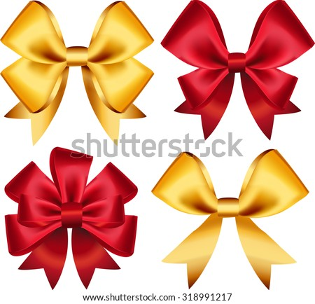 Set of colorful gift bows. Vector illustration. Created with gradient mesh. Concept for invitation, banners, gift cards, congratulation or website layout vector.
