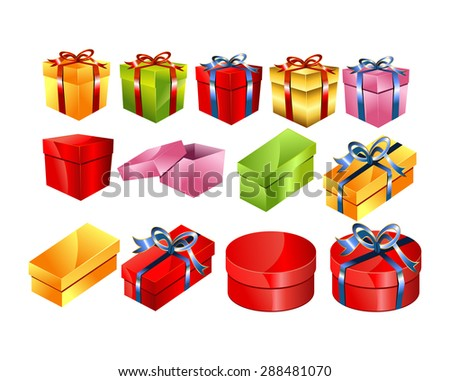 Set of colorful gift boxes with bow illustration.Gift box vector. - stock vector