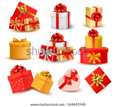 Set of colorful gift boxes with bows and ribbons. Vector - stock vector