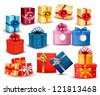 Set of colorful gift boxes with bows and ribbons. Vector illustration. - stock photo