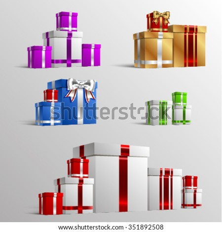 Set of colorful gift boxes with bows and ribbons. Vector illustration. EPS 10. Elements for greeting cards - stock vector