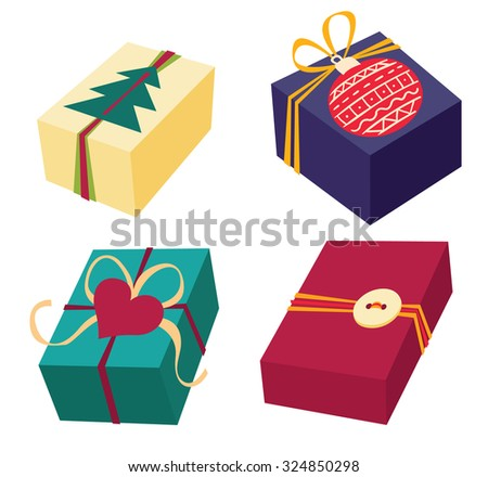 Set of colorful gift boxes with bows, ribbons and rich design decor - vector illustration. - stock vector