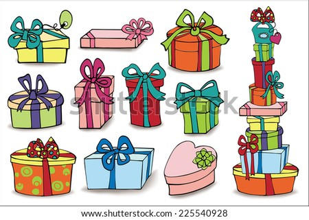 Set of colorful gift boxes with drop shadow. Hand drawing style.Doodle Vector illustration.  - stock vector