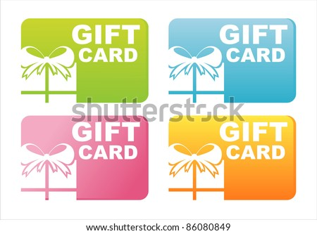 set of 4 colorful gift cards - stock vector