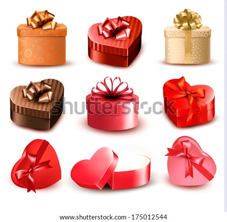 Set of colorful gift heart-shaped boxes with bows and ribbons. Vector illustration. - stock vector