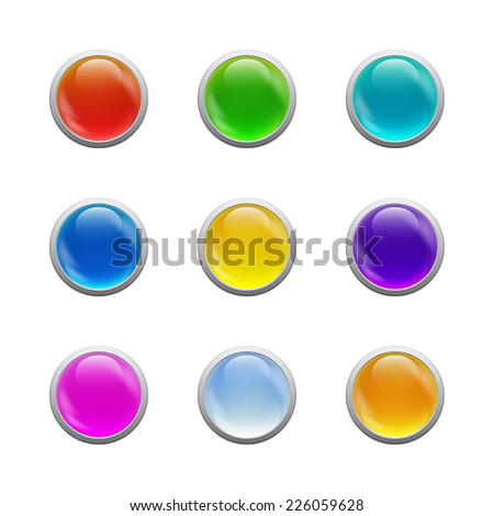 Set of Colorful glass round buttons for website or app. Vector eps10.