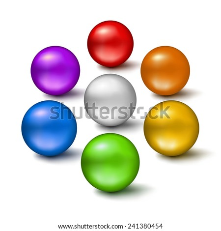 Set of colorful glossy balls isolated on white background. Vector illustration. - stock vector