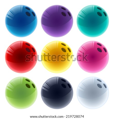 Set of colorful glossy bowling balls. - stock vector