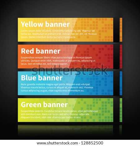 Set of 4 colorful glossy web banners. - stock vector