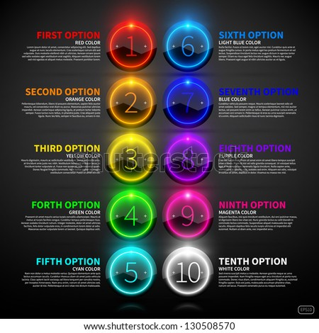 Set of colorful glowing options. - stock vector