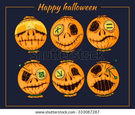 set of colorful halloween-style smiles of horror 2