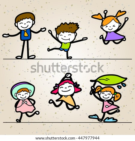 Set of colorful hand drawing happiness cartoon concept, happy people and kids with different posture vector illustration