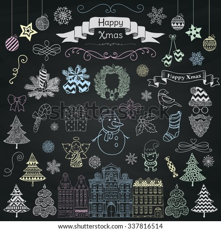 Set of Colorful Hand Drawn Artistic Christmas Doodle Icons on Chalk Board Menu Background Texture. Xmas Vector Illustration. Sketched Decorative Design Elements, Cartoons. New Year - stock vector