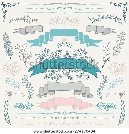 Set of Colorful Hand Drawn Doodle Design Elements. Decorative Floral Banners, Dividers, Branches, Ribbons. Vintage Vector Illustration. - stock vector