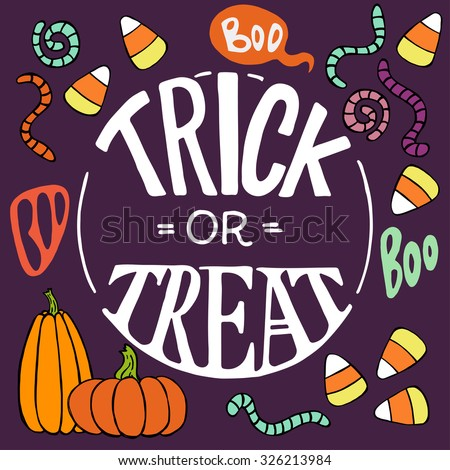 Set of colorful hand drawn halloween doodles with cartoon candy corns, pumpkins, worms and other elements. Trick or threat hand lettering. - stock vector
