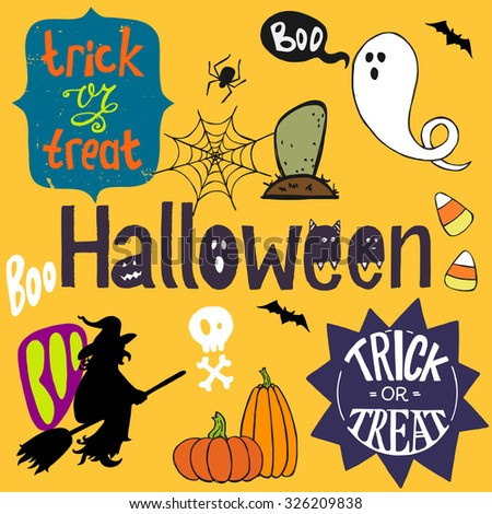 Set of colorful hand drawn halloween doodles with cartoon ghosts, witch, candy corns and other elements. Halloween and Trick or threat hand lettering. - stock vector