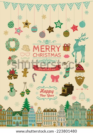 Set of Colorful Hand-drawn Outlined Christmas Doodle Icons. Xmas Vector Illustration. Text Lettering. Party Elements, Cartoons - stock vector
