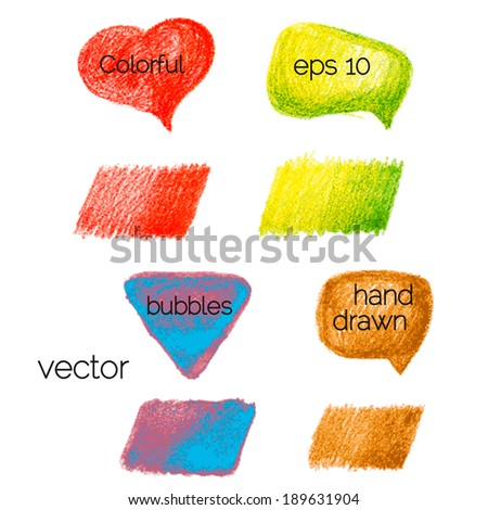 Set of Colorful hand drawn speech and thought bubbles. Vector illustration - stock vector