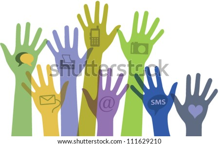 Set of colorful hands with communication icons. Vector - stock vector