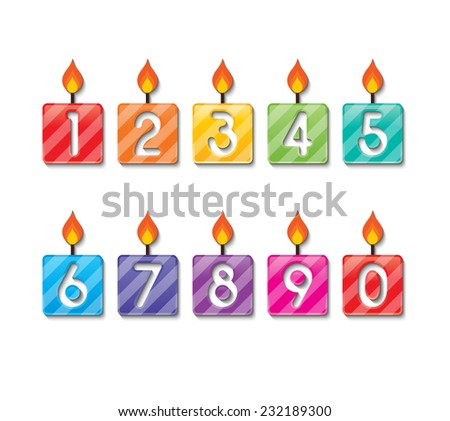 set of colorful happy birthday number candles. vector.