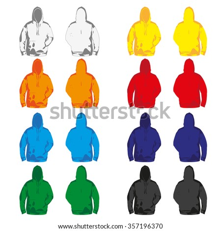 Set of colorful Hoodies  - stock vector