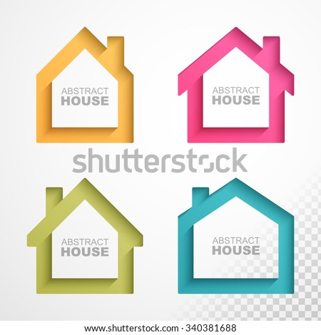 Set of colorful houses icons. Easy to change colors and can be used on any background color. - stock vector