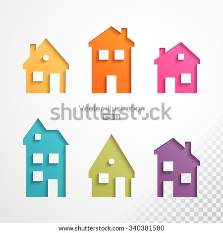 Set of colorful houses icons. Easy to change colors and can use on any background color. - stock vector