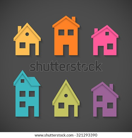 Set of colorful houses icons. Global colors - easy to change. - stock vector