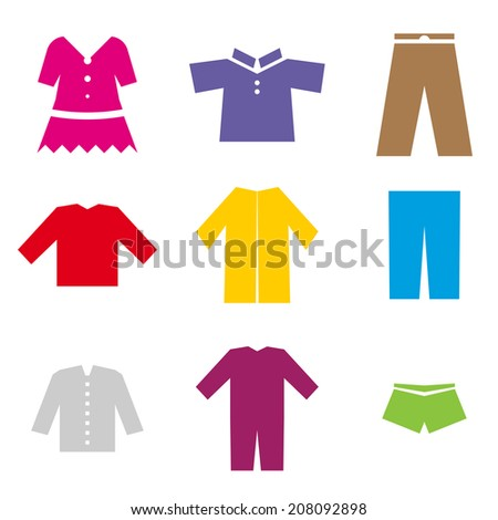 set of colorful icons of different clothes - stock vector