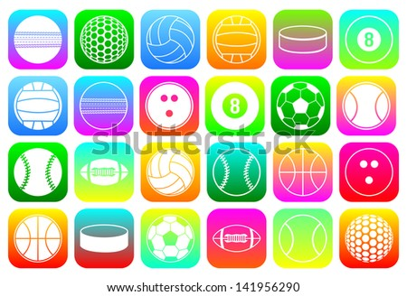 set of colorful icons of sports balls - stock vector