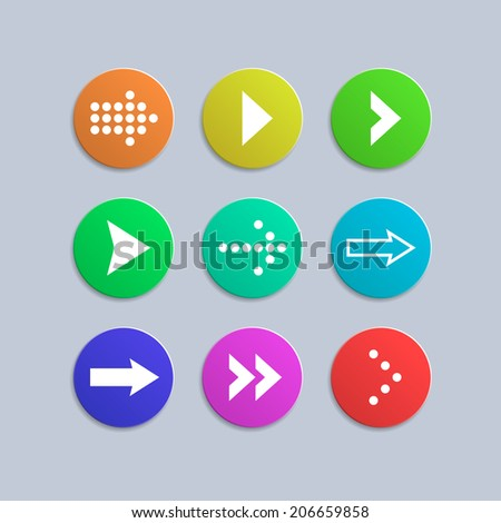 Set of colorful internet buttons with arrows icons . Simple circle shape, contemporary modern style. Isolated on gray background. Vector illustration, EPS 10. - stock vector