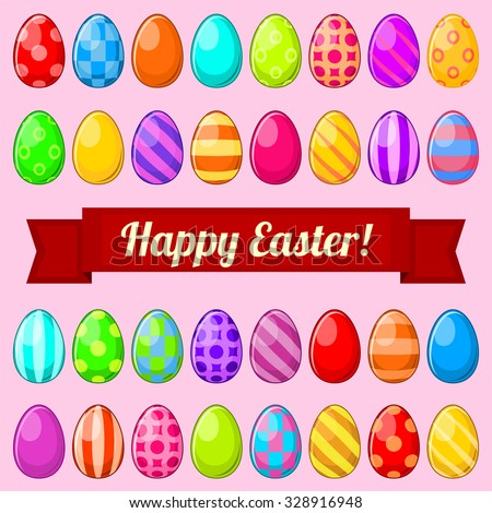 Set of colorful isolated Easter eggs with banner