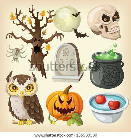 Set of colorful items for the day of the dead - halloween. - stock vector