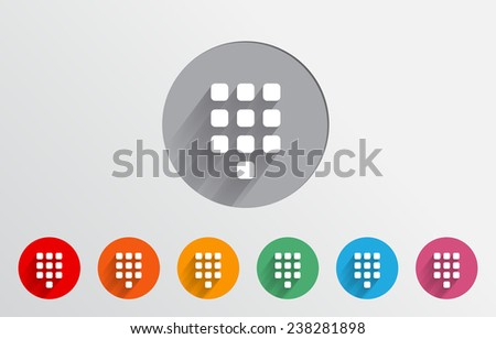 Set of colorful keypad icons - stock vector