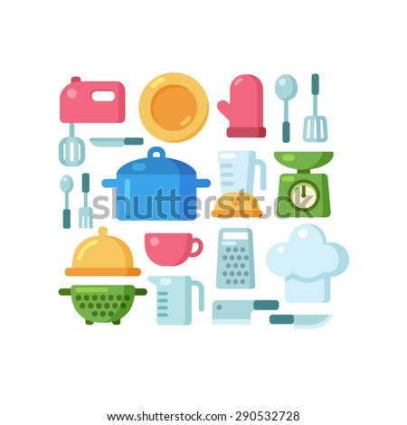 Set of colorful kitchen utensils and various cooking related objects arranged in a pattern. - stock vector