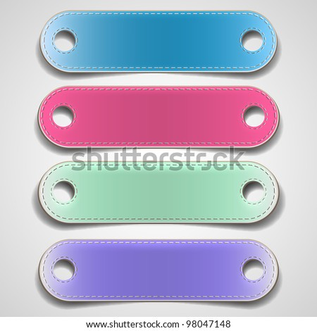 Set of colorful leather banners. Vector eps10 - stock vector