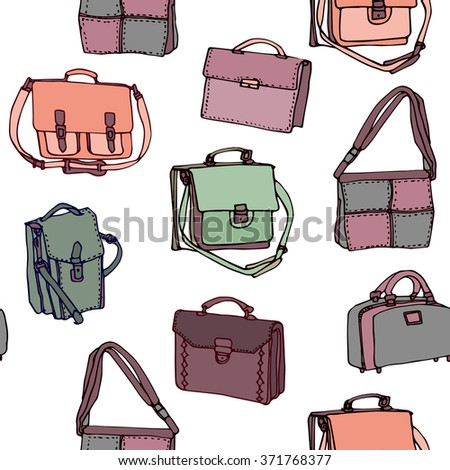 Set of colorful  leather briefcase on white background. Hand drawn seamless pattern.