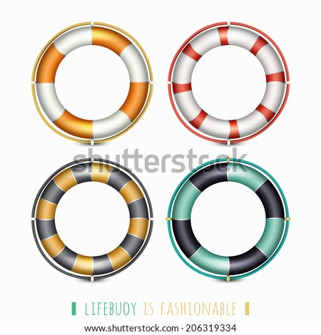 set of colorful life buoy icons isolated on white. vector illustration - stock vector
