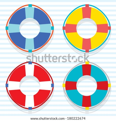 Set Of Colorful Lifebuoy - stock vector