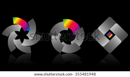 Set of colorful logos at dark background. Vector illustration.