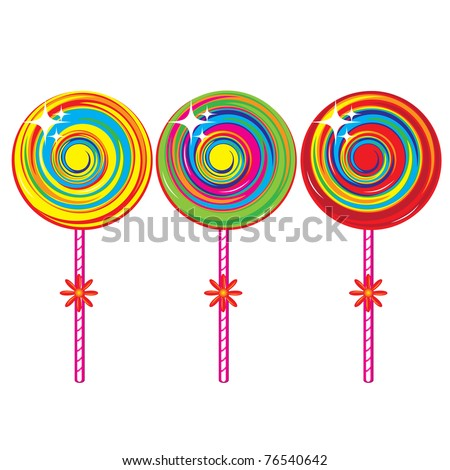 Set of colorful lollipops. Illustration on white background - stock vector