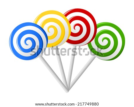 Set of colorful lollipops in hand drawn style. Collection of spiral candies sketch. Red, blue, green, yellow and white round swirl candy. vector art image illustration, isolated on white background - stock vector