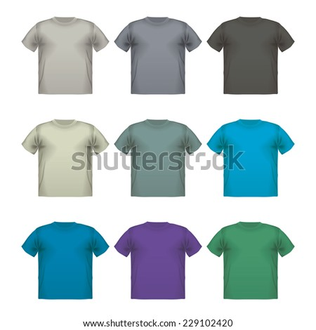 Set of colorful male t-shirts Vector wear printing advertisement isolated clothing retail cloth